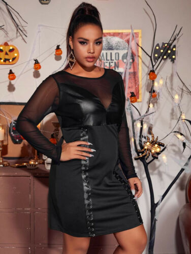 NEW BLACK FAUX LEATHER CORSET DRESS 22//24 BLACK GOTHIC DRESS 22 Steampunk dress