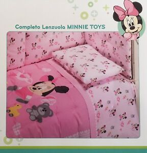 Set Lenzuola Lettino Baby Neonato Minnie Toys Rosa Disney Caleffi ...