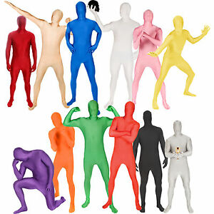 Adult Mens Colored Bodysuit Morphsuit Fancy Dress Party Halloween Costumes