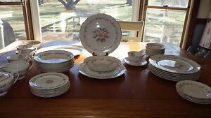 Vintage-China-Dinnerware-Set-Peach-Floral-Design-on-Ecru-rimmed-in-Gold