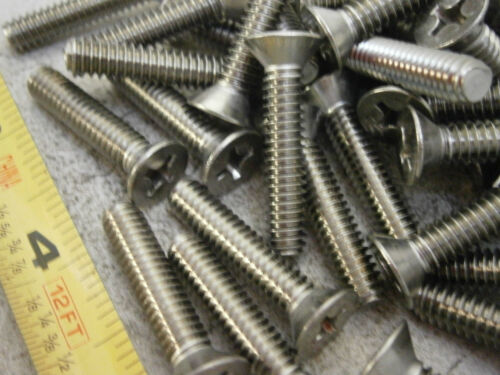"""Machine Screws 1//4-20 x 1-1//4/"""" Long Phillips Flat Head Stainless Lot of 25 #6093"""