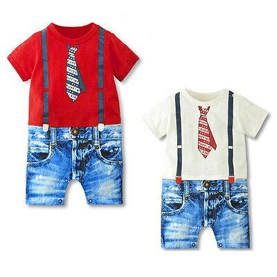 Newborn Toddler Kids Baby Boys Gentleman Jumpsuit Bodysuit Romper Clothes Outfit