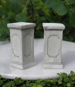 Miniature-Dollhouse-FAIRY-GARDEN-Accessories-2-Gray-Resin-Pedestals-NEW