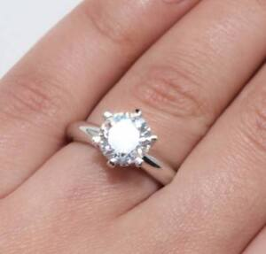 0 5 Ct Round Cut Diamond Solitaire Engagement Ring White Gold Tone