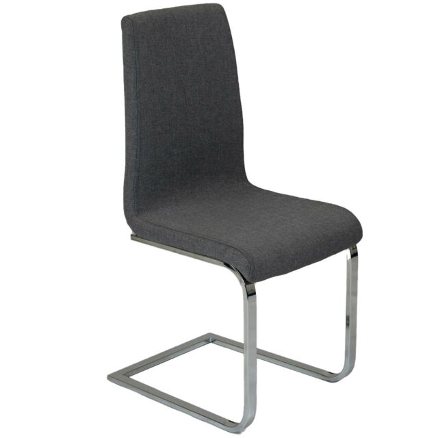 sports shoes d3485 c3c1b 2x Charles Jacobs Modern Grey Fabric Dining Chairs Furniture With Chrome  Legs