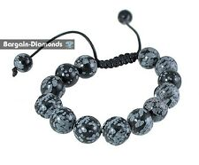 shamballa 12 mm snowflake obsidian round beads black macrame bracelet hip hop