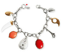 Lucky Brand 'african Sky' Coral Horn Safari Giraffe Charm Silver-tone Bracelet