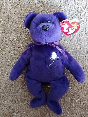 Ty Princess Diana Beanie Baby Bear Royal Purple 1997 P E Pellets