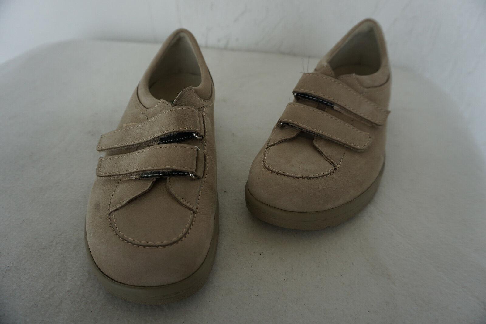 Orthopädisch Natural Feet Damen Comfort Schuhe Klett Gr.36 Beige Nubuk Leder NEU