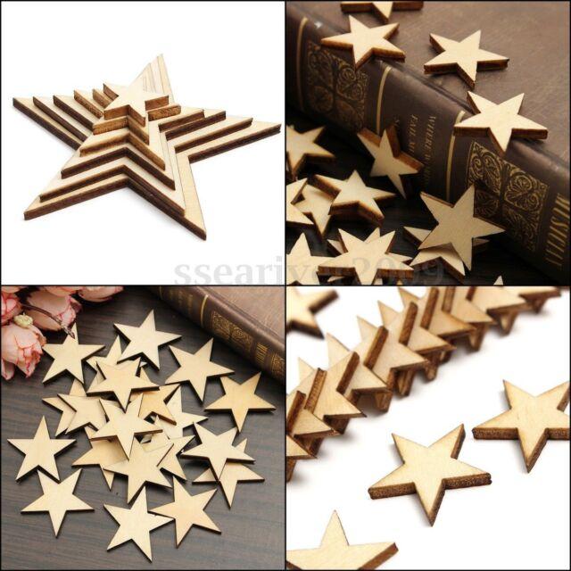 DIY Natural Wooden Heart Star Wood Photo Frame Scrapbooking Card Art Decor Craft