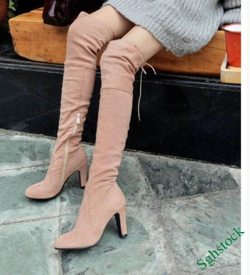 Winter Women's Knee High Boots Side Zip Stretchy Faux Suede Heels shoes US4.5-11