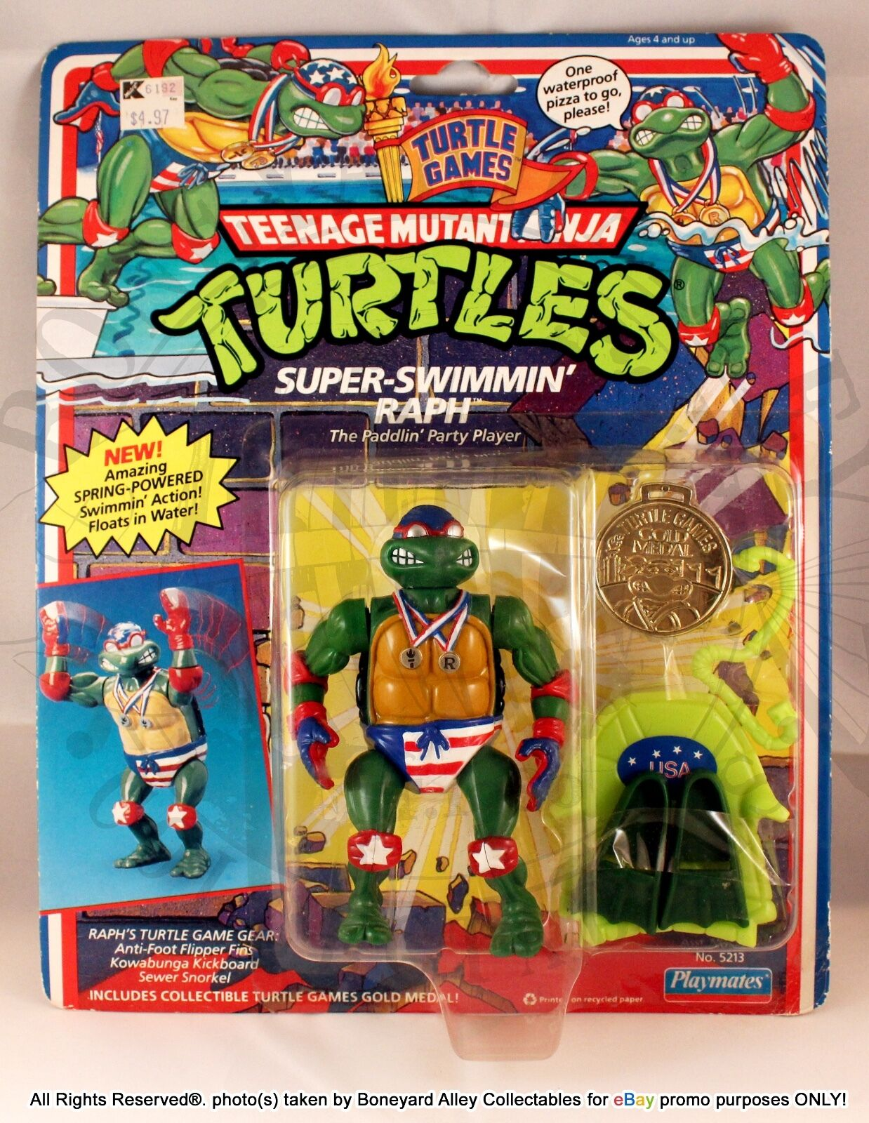 TMNT 1992 TURTLE GAMES SUPER SWIMMIN' RAPH*PUNCHED-PLAYMATES