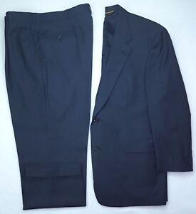 Hart-Schaffner-Marx-44L-Blue-Suit-2-Button-Gold-Trumpeter-Wool-Mens-Size-Long-Sz