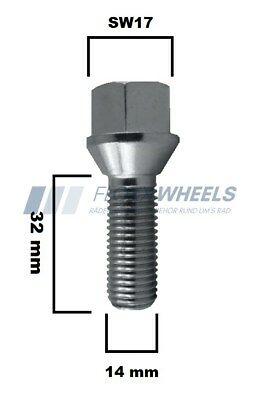 8 X Radschrauben Radbolzen Kegelbund M14 verzinkt 40 mm SW17