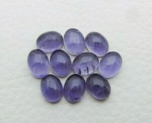Natural Iolite Loose Gemstone 8X6mm Oval Cabochon Wholesale Lot 35 Carat S332