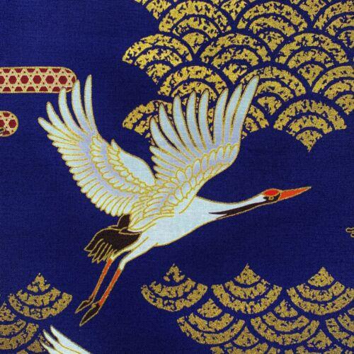 metallic heron stork birds gold blue Japanese cranes fabric oriental chinese