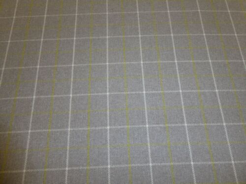 Curtain Fabric BAMBURGH CITRUS Porter /& Stone Wool Effect Check Upholstery