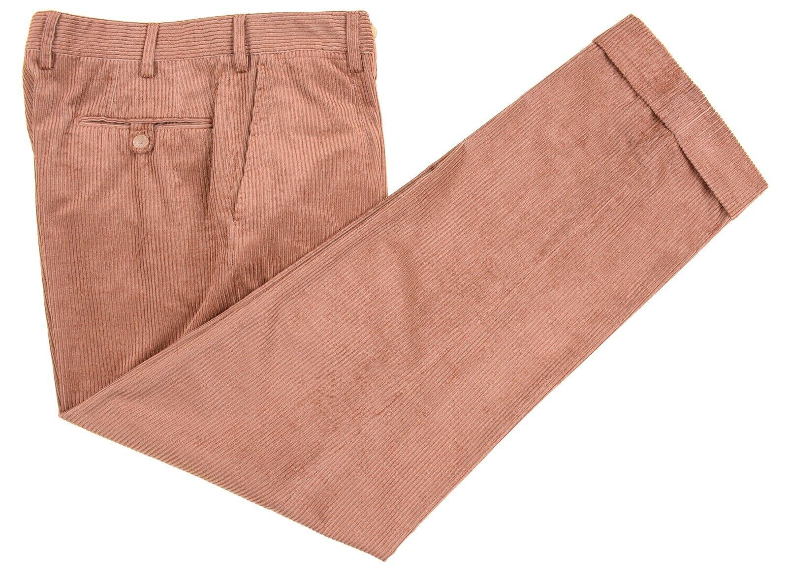Isaia Napoli Sciammeria  Bamboo Copper naranja Corduroy Dress Pants 32 x 31  promociones emocionantes