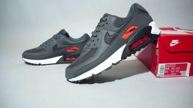 New Nike Air Max 90 Grey Total Orange Men's Size 8 Athletic Sneakers CW7481-001