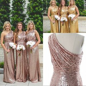 Women Dresses Maxi Bridesmaid Wedding Sequin Party Dress Long Nmw8n0