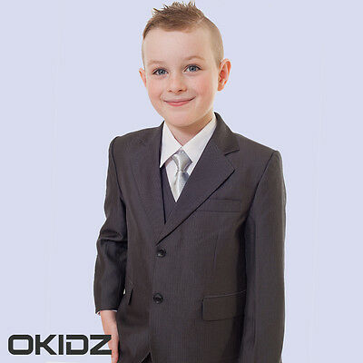 High Quality 5PCS Boys Charcoal Finely Striped Formal Wedding Christening Suits