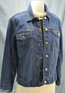 bottone 0 denim M Chicos S Cappotto Sz cotone Jean con in per blu giacca elasticizzato 4vOvIg
