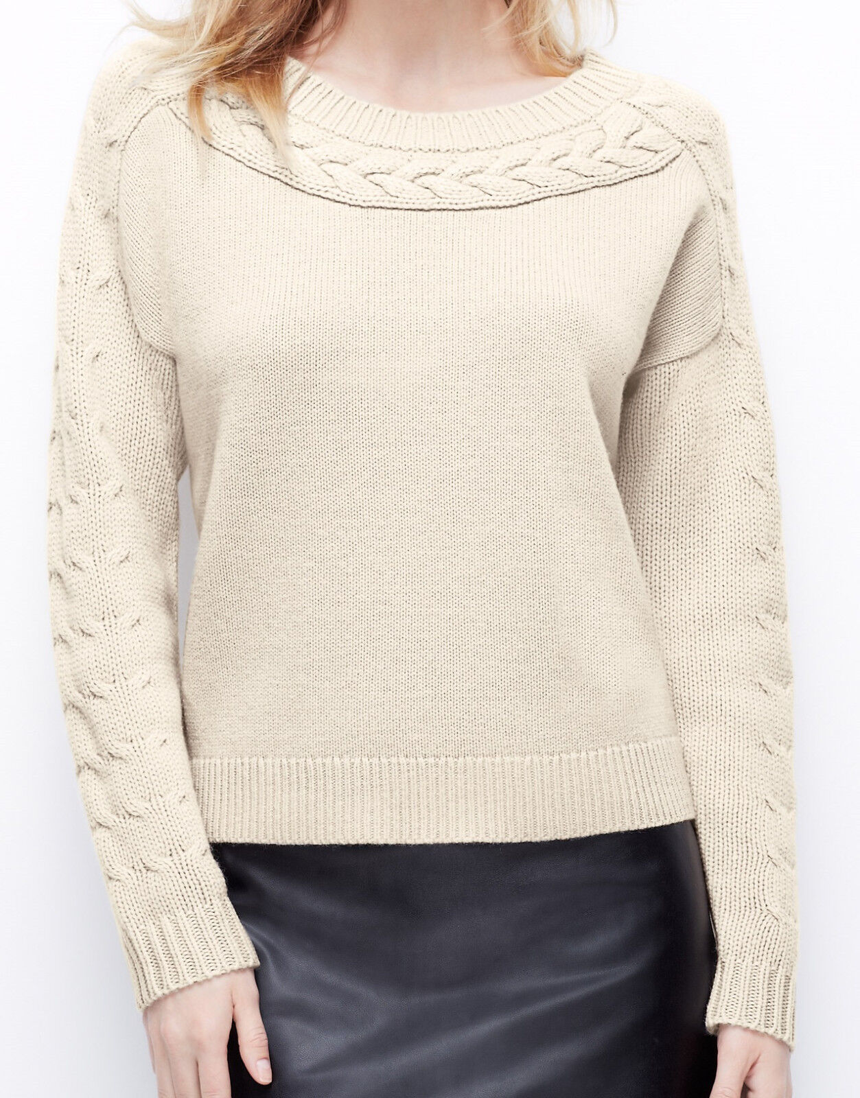 NWT  98 Ann Taylor Cable Trim Wool Cashmere Sweater Size XS