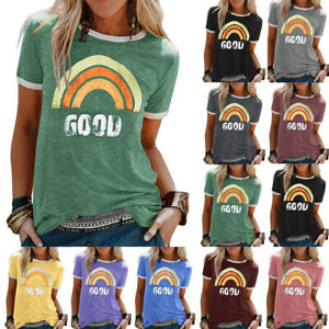 Womens-T-Shirt-Blouse-Sweatshirt-Rainbow-Pullover-Summer-Ladies-Casual-Tee-Tops