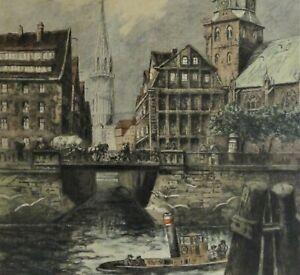 Helma-Fischer-Oels-1860-1930-grosse-Farb-Radierung-HAMBURG-ZOLLKANAL