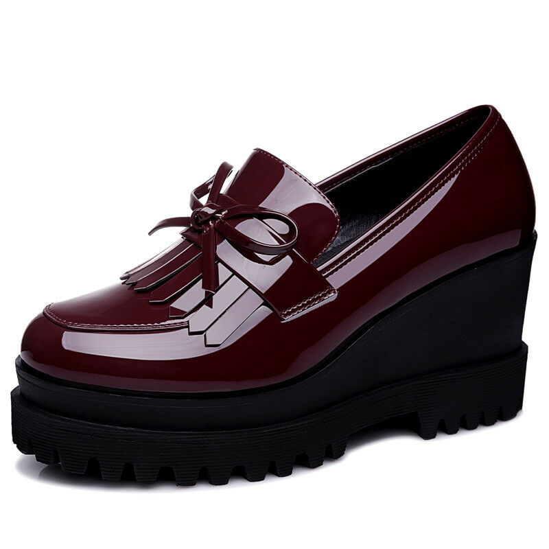 Girls Womens Patent Leather Platform Wedge Heel  Loafer shoes Fringed Fashion
