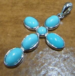 light-blue-TURQUOISE-and-925-sterling-silver-cross-pendant-for-necklace-NEW