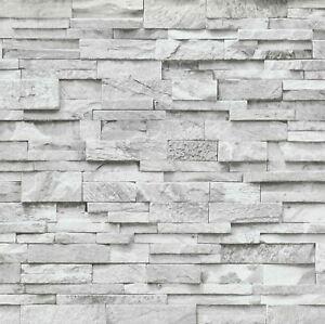 Brick Effect Wallpaper Slates Stones Rustic 3D Style Paste The Wall Vinyl Orange