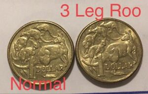 2x-2015-Three-3-Leg-Roo-1-One-Dollar-Error-AKA-Missing-Leg-Coins-FREE-POST