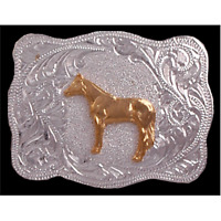 Western Gold Standing Horse Silver Belt Buckle Kids Youth 2 X 2 5/8 Usa
