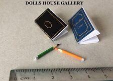 Note Books & Pencil Set, Dolls House Miniature Stationery, Study School