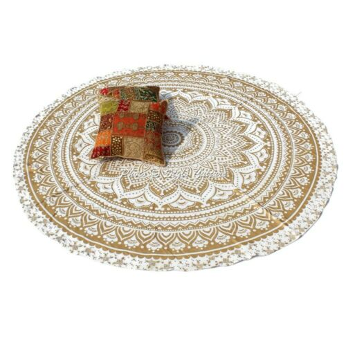 Indian Round Tablecloth Gold 72 Inches Printed Mandala Floral Boho Tablecloth