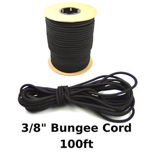100ft 3/8 Black Bungee Cord Marine Grade Heavy Duty Shock Rope Tie Down Stretch
