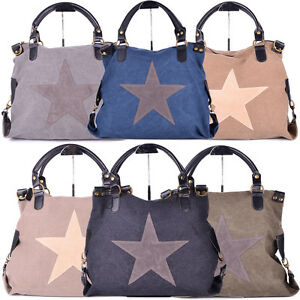 tasche gro schultertasche vintage trend shopper star stern handtasche damen neu ebay. Black Bedroom Furniture Sets. Home Design Ideas