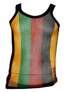 974ed36a45fc99 Mens Fitted Rasta Muscle Top Striped String Vest Mesh Fishnet Cotton ...