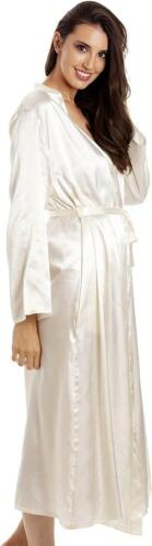 Camille Womens Cream Long Satin Wrap Dressing Gown Robe