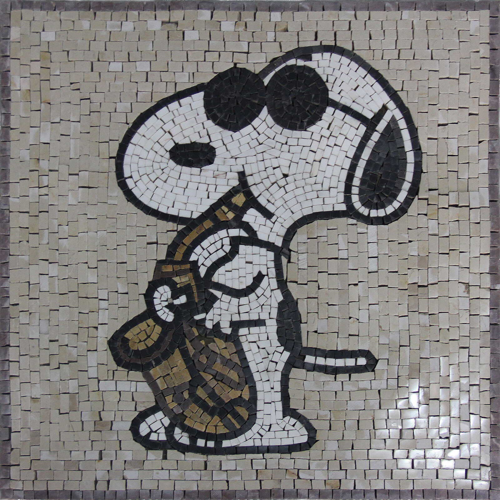Snoopy Jazz Saxophone Music  Peace Marble Mosaic AN1076