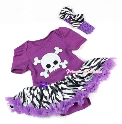 Halloween Purple Bodysuit Romper White Skull Purple Zebra Baby Dress NB-12Month