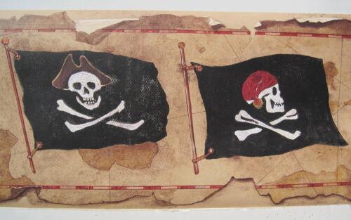 """PIRATES JOLLY RODGER SKULL /& CROSSBONES FLAGS Wallpaper Border 9/"""""""