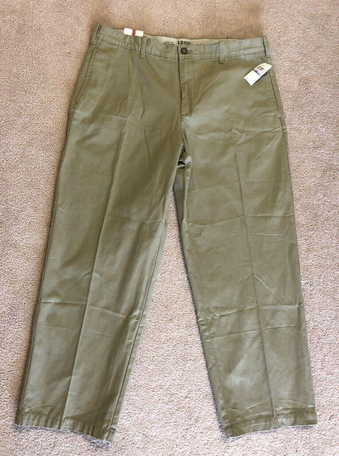 Izod Saltwater Khaki Beige Classic Fit Pants Men's Size 38W x 30L NEW with tag