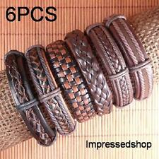 Wholesale Handmade 6pcs/lot ethnic tribal charms men leather bracelets-L72