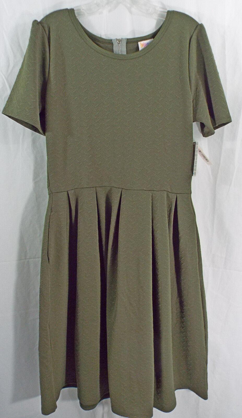 damen LuLaRoe Dress XL Amelia Olive Grün Embossed Diamond Pattern NWT