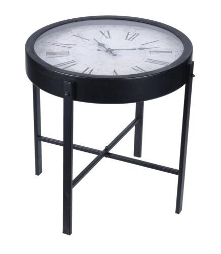 Glas Beistelltisch mit integrierter Uhr in Tischplatte Couchtisch schwarz 40cm