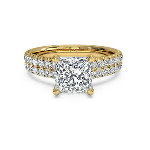 1.60 Ct Princess Moissanite Anniversary Superb Ring 18K Solid Yellow Gold Size 6