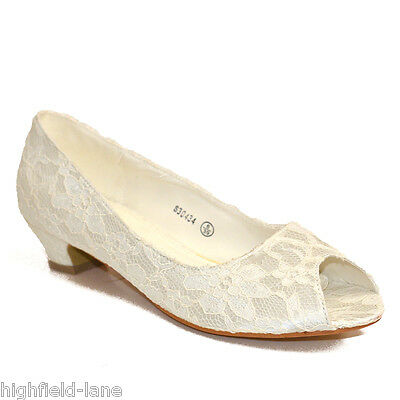 Ladies Ivory Floral Lace Low Heel Peep Toe Wedding Bridal Bridesmaids Shoes Size