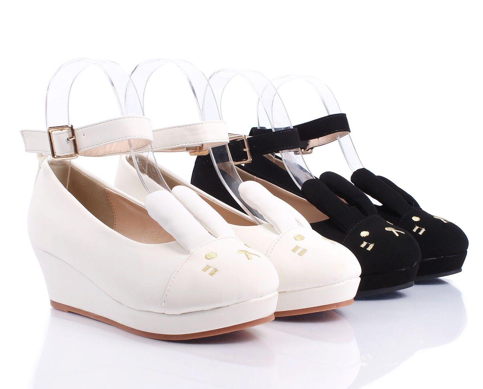 Black Cute Ankle Strap Buckle Kids Girls Bunny Ears Wedge ...